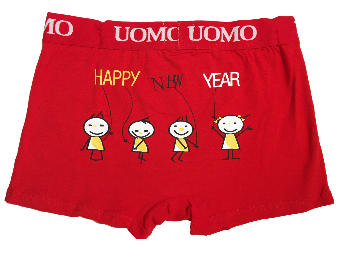 Rosso Boxer aderente Happy new year DIETRO
