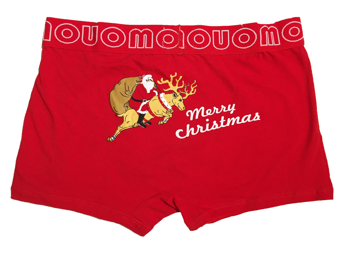 Rosso Boxer aderente Mary Christmas DIETRO